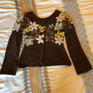 Anthropologie Embroidered Wool Sweater, Sz S